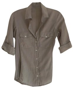 James Perse Cotton Blouse Shirt Cargo Sleeves Stretchy Button Down Shirt Beige