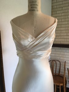 Augusta Jones Sz 8/10 Cognac Off Shoulder Sexy Slim Wedding Dress