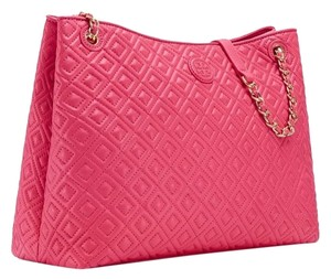 Tory Burch Leather Tote in Dark Peony