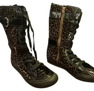 Pollini Patent Leather Leopard Athletic