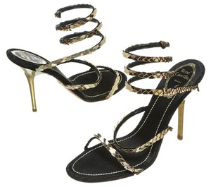 Rene Caovilla Gold/Black Sandals