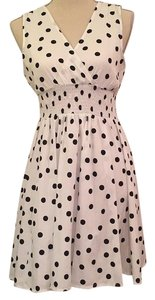 Macy's short dress White with navy polka dots on Tradesy