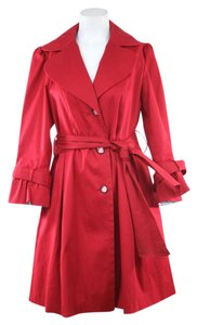 Laundry by Shelli Segal Red Belted Trench Jacket Trench Coat