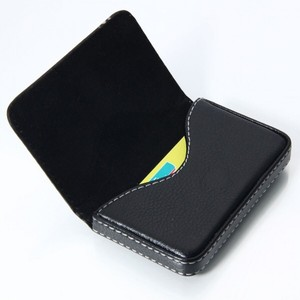 Business Card Holder Black with White Stitching & Magnetic Closure