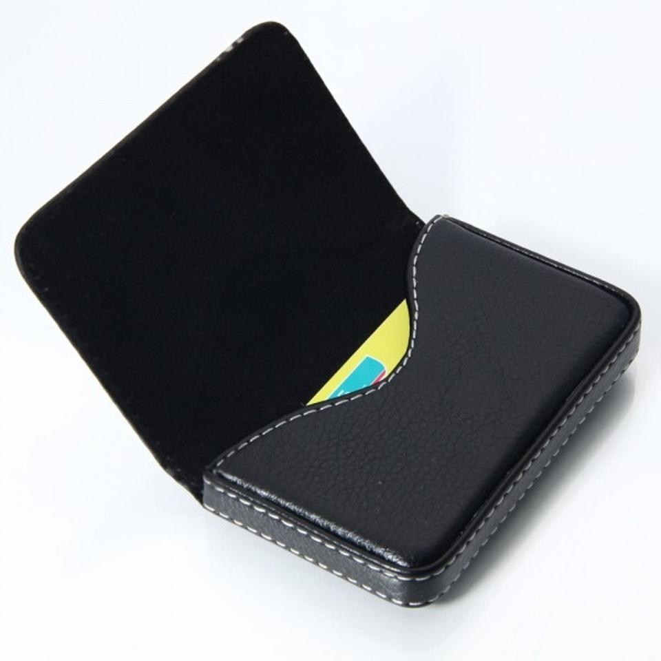 Black Business Card with White Stitching & Magnetic Closure Wallet ...