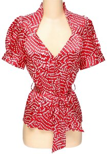 BCBGMAXAZRIA Polka Dot Wrap Top Red & White