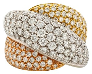 Damiani's Damiani 18k White, Yellow Gold & Pave Diamond Giomotolo Ring (Size 7)
