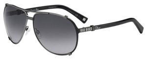 Dior Chicago 2 Strass 63mm Aviator Sunglasses Palladium Black Strass/Grey