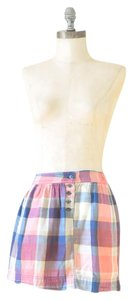 Aerie Mini Plaid Plaid Xs Preppy Mini Skirt Pink, Blue, White, Taupe