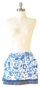Hollister Hawaiian Print Sequins Floral Print Embroidered Mini Skirt Blue and White