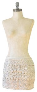 Sans Souci Lace Tiered Ruffled Mini Skirt Beige