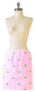 Lilly Pulitzer Bumblebee Embroidered Pencil Skirt Pink and Green
