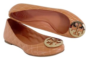 Tory Burch Reva Peach Quilted Patent Flats