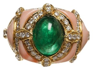 Coral Bay Coral Gold Diamond and Cabochon Emerald Ring (Size 8)