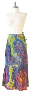Other Bohemian Tie Dye Wrap Gypsy Green And Pink Maxi Skirt Multi-Color