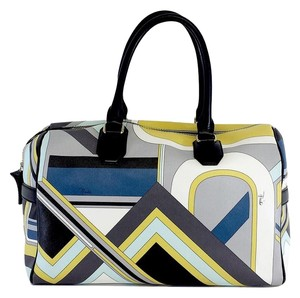 Emilio Pucci Multi Color Print Leather Shoulder Bag
