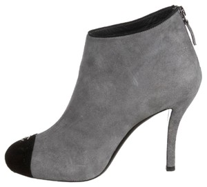 Chanel Bootie Boot Suede Logo Gray Black Boots