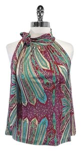 Nieves Lavi Paisley Print Silk Sleeveless Top