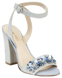 Nine West Heeled Suede Blue Sequin 90's Light Blue/Gray Sandals