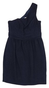 Shoshanna short dress Navy One Shoulder on Tradesy