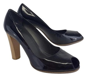 Stuart Weitzman Black Patent Leather Peep Toe Pumps