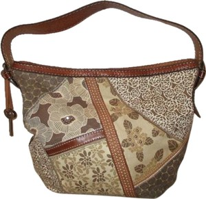 Fossil Leather Canvas Shoulder Bag