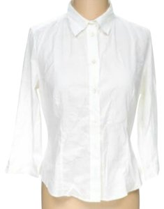 Prada 3/4 Sleeve Button Down Shirt White