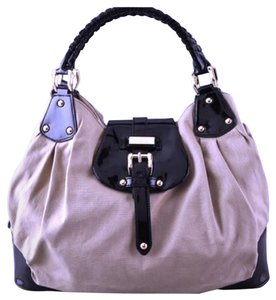 Halston Brandi Brandy Heritage Satchel in Winter White w Black Leather Trim