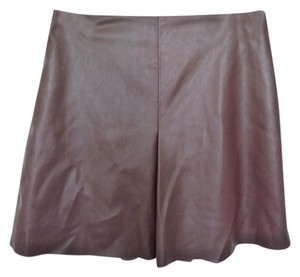 Mango Faux Leather Skirt Brown