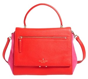Kate Spade Bicolor Leather Suede Trapeze Satchel in Red and Fuschia