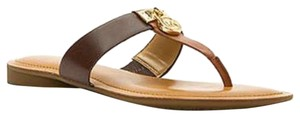 Michael Kors Mk Leather Mk Logo Walnut/Java Sandals