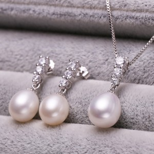 Bridal Sterling Silver Fresh Water Pearl Cz Necklace Set