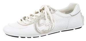 Gucci Round Toe Gold Hardware White, Silver Athletic