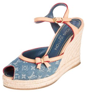 Louis Vuitton Lv Monogram Idylie Peep Toe Denim Beige, Blue Platforms