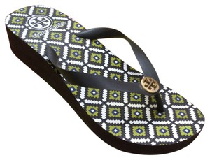 Tory Burch Platform Multi-Brown, Green Wedges