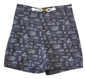 Ralph Lauren Sailboat Nautical Boats Board Shorts Navy and White