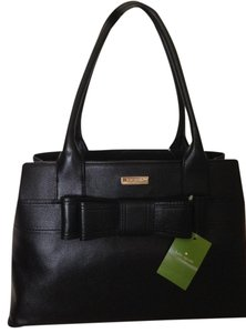 Kate Spade 100% Leather Signature Lining Satchel in Black w/Gold-tone fittings