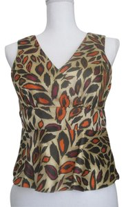 Nine West Top Gold/Beige Leaf Print