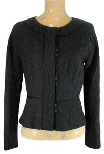 Max Mara Loop Closure Round Neckline Black Blazer