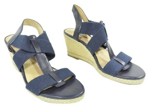 Lucky Brand 8.5 Heels Navy Burlap Twine Leather Blue Wedges