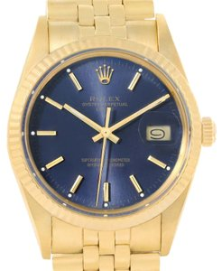 Rolex Rolex Date Mens 14k Yellow Gold Blue Dial Vintage Watch 15037