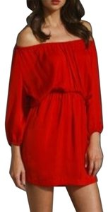 Joie short dress Red Off The Shoulder Silk on Tradesy
