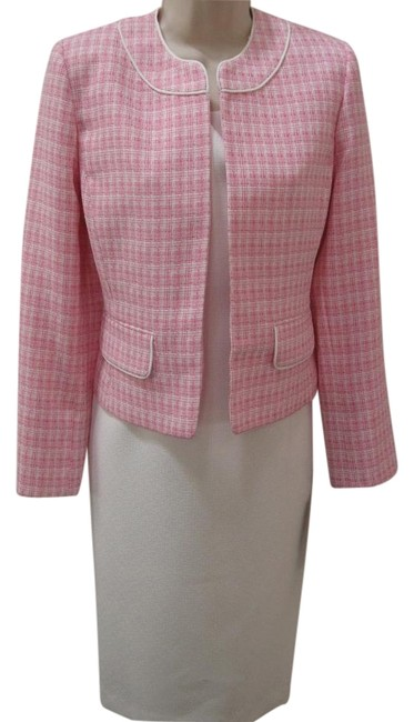Item - Pink White Shift Jacket Mid-length Work/Office Dress Size 6 (S)