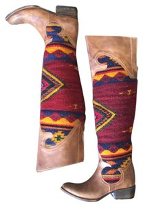 FreeBird Over The Knee Distressed Cowboy Western Tan Boots