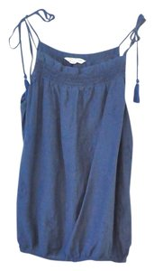 American Eagle Outfitters Embroidered Navy Spaghetti Strap Tassels Navy Top Blue