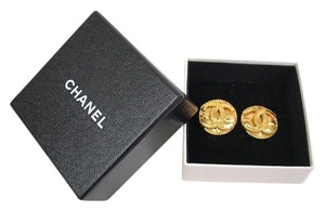 Chanel C C Caviar Beaded Gold Plated Earrings