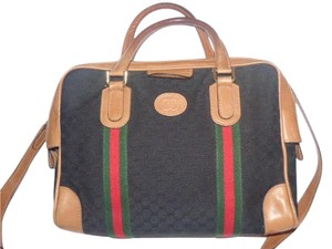 Gucci Speedy/boston Xl Doctor's Removable Strap Mint Vintage Satchel in black small G logo print canvas/camel leather with red/green stripes