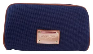 Michael Kors Abbey Large Cosmetic Case Pouch Bag NWT Navy Canvas