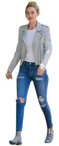 Stretchy Denim Ripped Skinny Jeans-Light Wash