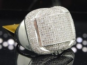 Diamond Curved Pinky Ring Mens 10k White Gold Round Pave Designer 1.35 Tcw.